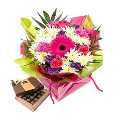 Flowers with assorted chocolates