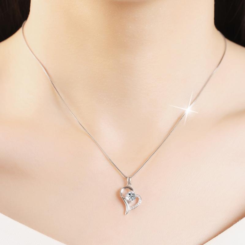 Heart-shaped diamond pendant