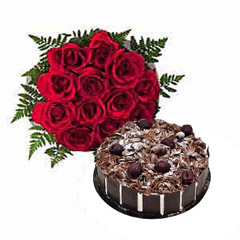 Dozen Roses with Blackforest Cake