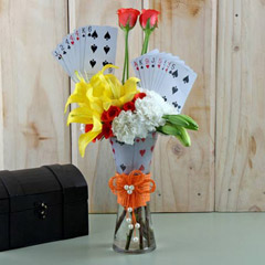Playing Card with Flowers