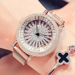 Korean Diamond Star Golden Watch