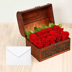 Red Roses Treasured Box With Greeting Card