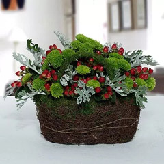 Hypnotic Chrysanthemum N Hypericum Christmas Flower Basket