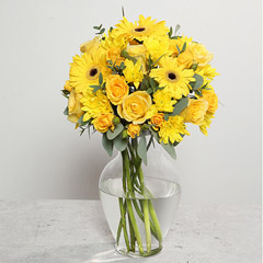 Yellow Gerberas and Roses Arrangement