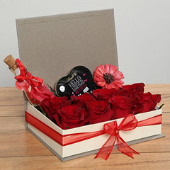 Red Roses and Heart Shaped Chocolate Hamper