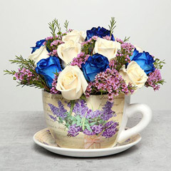 Rose Arrangement in Cup and Plate Pot