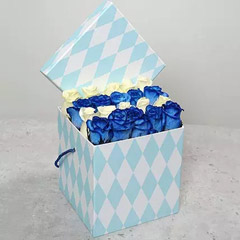 White and Blue Roses in Gift Box