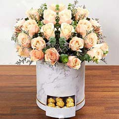 Serene Peach Roses Arrangement