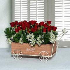 Joyous Wooden Truck Flower Arrangement