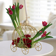 Radiant Rose N Tulips Flower Arrangement