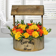 Bright Yellow N Orange Flower Arrangement