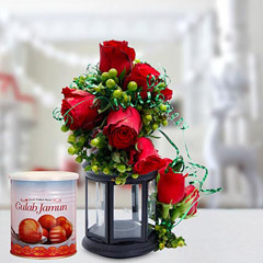 Alluring Roses Arrangement and Gulab Jamun Combo