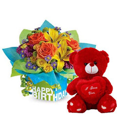 Colored Flowers Bouquet and Red Teddy Combo