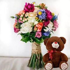 Ravishing Flowers and Brown Teddy Combo