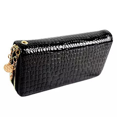 Croco Print Double Zip Leather Wallet