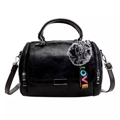 Pom Pom Keychain Black Love Bag