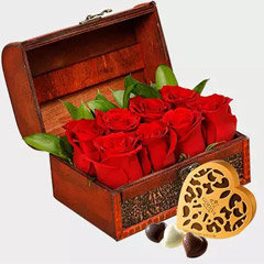 Box of Red Roses and Godiva Chocolates