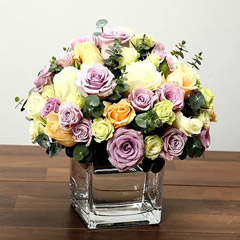 Mixed Rose Arrangement In Glass Vase