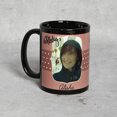 Black Personalised Birthday Mug