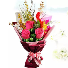 Artificial Red Roses and Orchids Bouquet