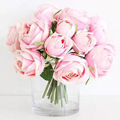 Artificial Pink Roses Vase