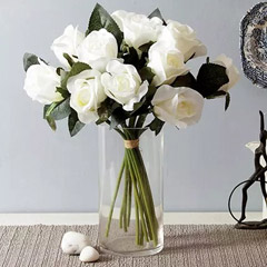 Artificial White Roses Vase