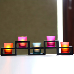5 Candle Holders In Wooden Stand