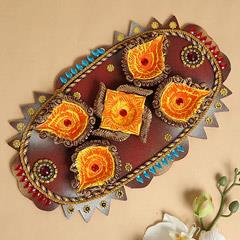 Beautiful Platter Of Designer Diyas