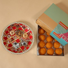 Motichoor Laddoo With Pooja Thali