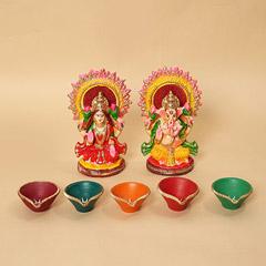 Lakshmi Ganesha Idols and Diyas Combo