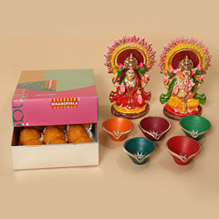 Motichoor Laddoo With Diyas and Idols