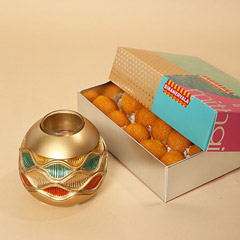 Motichoor Laddoo and Golden Diya Combo