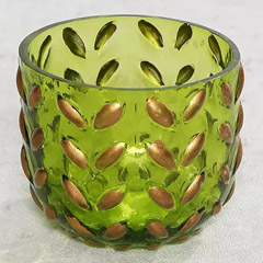 Green Decorative Glass and Tea Light Combo