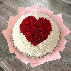 White and Red Roses Heart Arrangement in Basket