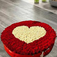 Red and White Roses Heart Arrangement in Basket