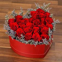 Red Roses In Heart Shape Box