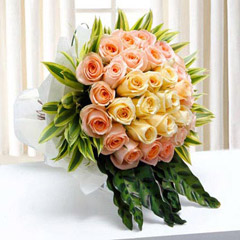 Mayfair and Peach Roses Bouquet