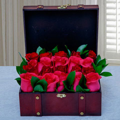 Pink and Red Roses Arrangement in Wooden Box