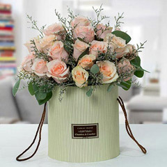 Peach Roses Arrangement in Cylindrical Box
