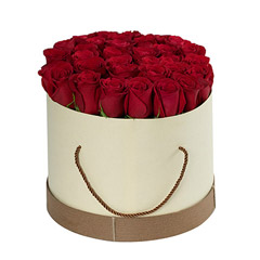 Red Roses in Cylindrical Cardboard Box