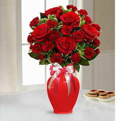 Red Roses and Carnations in Ceramic Vase