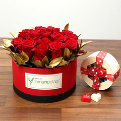 20 Red Roses With Belgium Chocolates