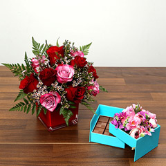 Red and Pink Roses With Belgium Chocolates