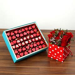 Heart Shaped Chocolates and 9 Roses Combo For Valentines Day