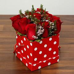 Red Roses In Cardboard Box