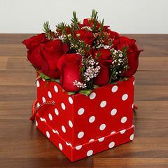 Red Roses In Cardboard Box