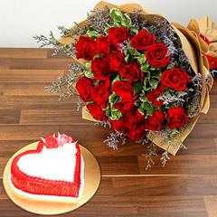 Red Roses and Vanilla Cake Combo