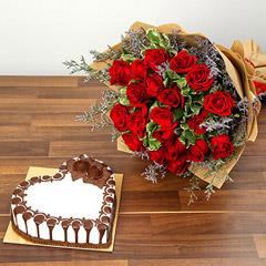 Rose Bouquet and Chocolate Cake Combo