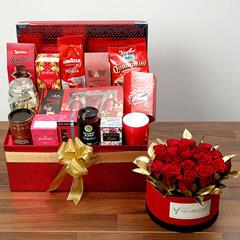 Delightful Food Hamper With Red Roses