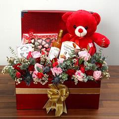 Delightful Hamper With Red Teddy Bear